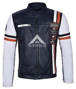 NAPA Stripes Jacket Biker Style CHAMPION Mens CLUB Leather Navy t8AZa