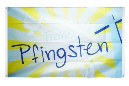 BALKONFLAGGE BALKONFAHNE Frohe Pfingsten Flagge Fahne für den BALKON 90x150cm