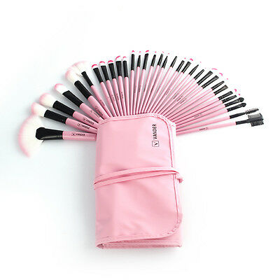 Pro 32pcs Pink Soft Cosmetic Eyebrow Shadow Makeup Brush Set Kit + Pouch Bag