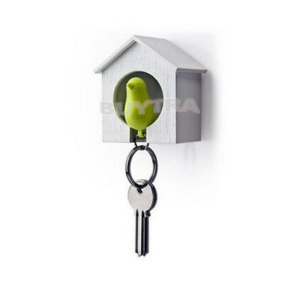 Adorable Bird Nest Sparrow Key Ring Birdhouse Key Chain Home Wall Hook Holder