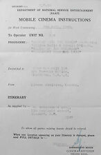 3 naffi  mobile cinema instructions / film play lists for  june- july  1945