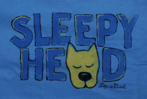 NWT Women/'s Life is Good Sleepy Head Rocket Blue Snuggle Up SS Sleep Vee