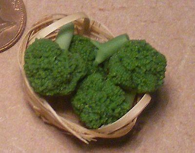 1:12 Scala 4 Broccoli In Un Cestino Casa Delle Bambole Accessorio Cucina Cibo Vegetale-mostra Il Titolo Originale