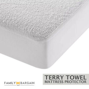 New All Sizes Waterproof Terry Towel Mattress Protector Fitted Sheet Bed Cover