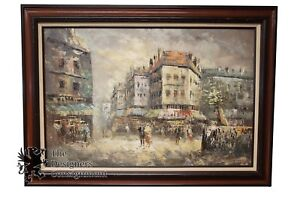 """44"""" French Impressionist Oil Painting Paris Street Scene on Canvas Cityscape"""