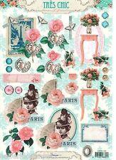 DINA4 1x Papier Motive Motivpapier Rosen Schmuck Tags Scrapbooking Vintage 1282