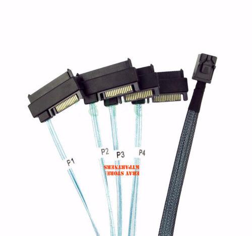 SAS 15pin Power Cable 3 Feet Mini SAS SFF-8643 to 4x SFF-8482 29pin connectors