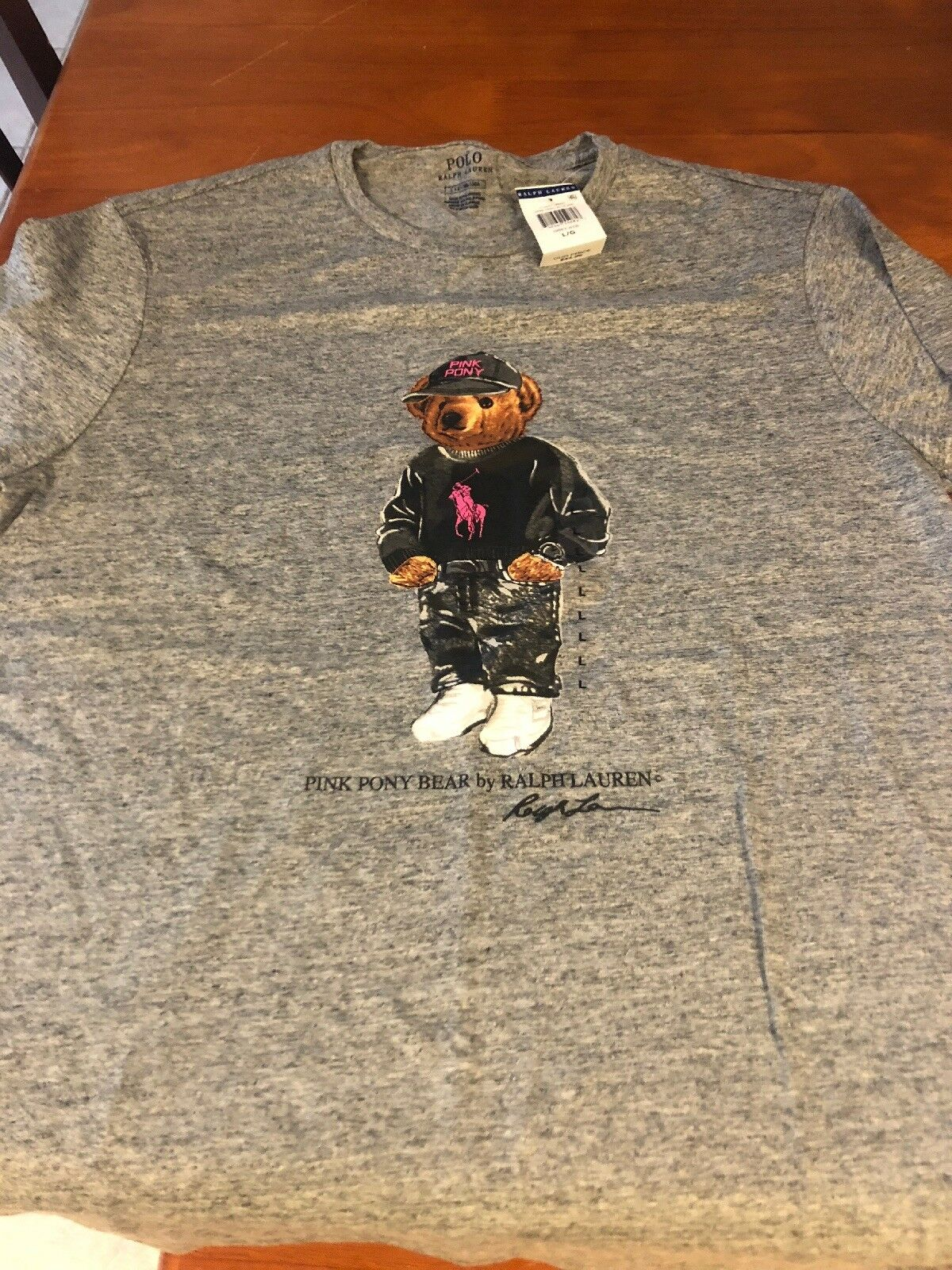 Ralph lauren Rosa Polar Bear pony Large New With Tags Breast Cancer Awareness