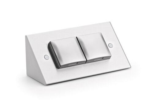 ambiato Edelstahl Arbeitsplatten Steckdose 2-fach Aufsatzsteckdose mit Deckel