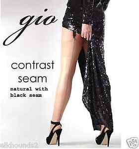 047220052 Gio CONTRAST SEAM Fully Fashioned 100% Nylon Stockings natural black ...