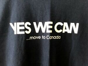 Vintage-YES-WE-CAN-Move-to-Canada-T-Shirt-Hell-Hanes-Beefy-Size-Mens-XL-Obama