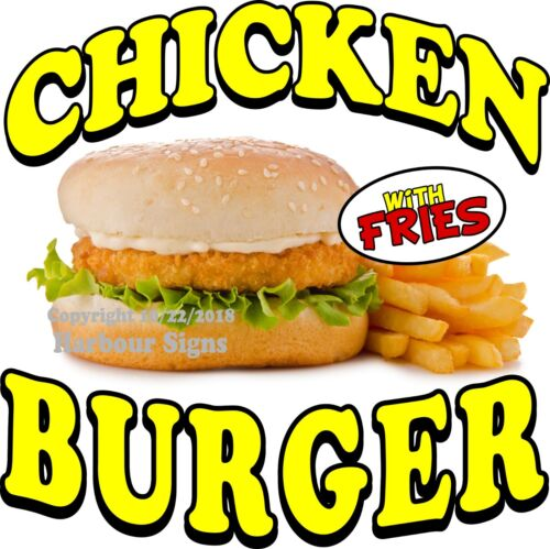 Choose Your Size Chicken Burger w//Fries  DECAL Concession Food Truck Sticker