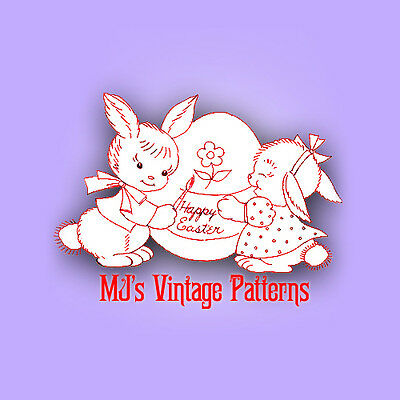 Stuffed Duck /& Bunny holding Carrot ~ Vintage Pattern