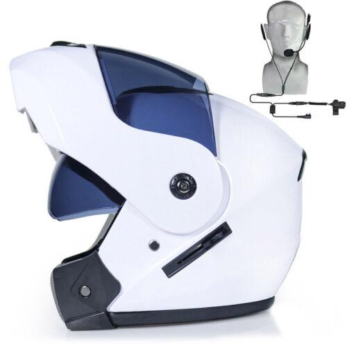 Motorcycle Helmet Full Face Dual Visor Modular Flip Up Scooter+Bluetooth Headset