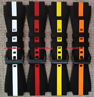 Zodiac Zmx-01 24mm Replacement Striped Silicone Rubber Strap/band Pvd Stainless