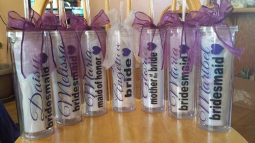 Wedding Party Tumblers Bridesmaid gifts Skinny PersonalizedGroomsman Set