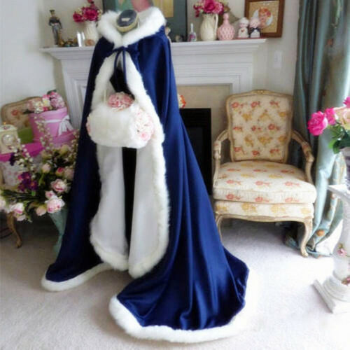 Bridal Winter Wedding Cloak Cape Satin Hooded with Fur Trim Long Bridal Winter