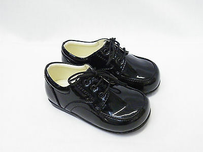 Boys Black Patent Formal Shoes Wedding Pageboy Party Infant Toddler Size 9