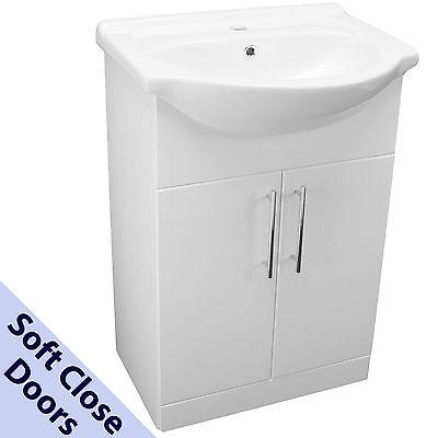 650mm BATHROOM VANITY CABINET CUPBOARD UNIT 65cm CERAMIC BASIN SINK WHITE MODERN