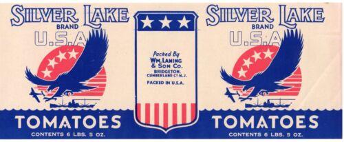 Silver Lake Tomatoes Bridgeton Cumberland NJ Unused Tin Can Label Vintage Orig