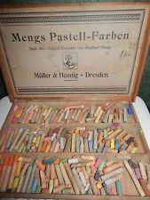 1874 Mengs Pastell-Farben Muller & Hennig Dresden Wood Box Set Pastel Chalks