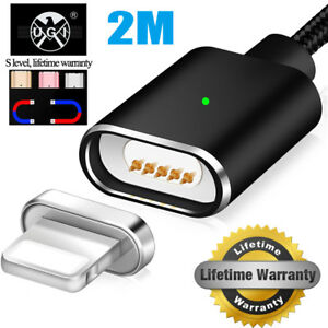 2M-Magnetic-USB-Fast-Charging-Data-Charger-Cable-For-iPhone-5s-SE-6-6s-7-plus