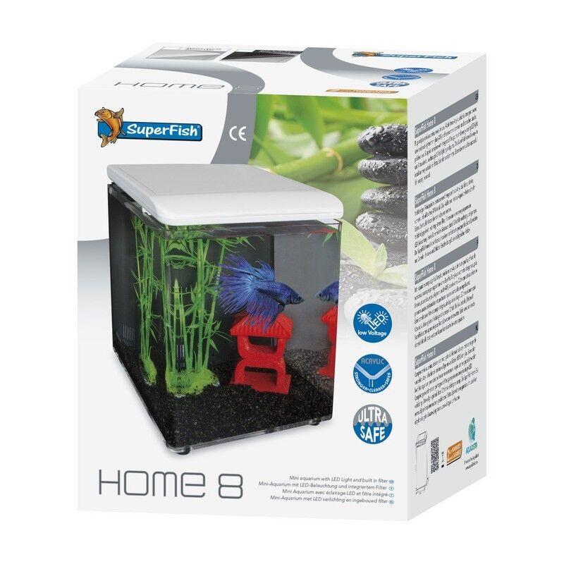 Superfish Home 8 Mini Aquarium White Cube Fish Tank LEDs & Filter