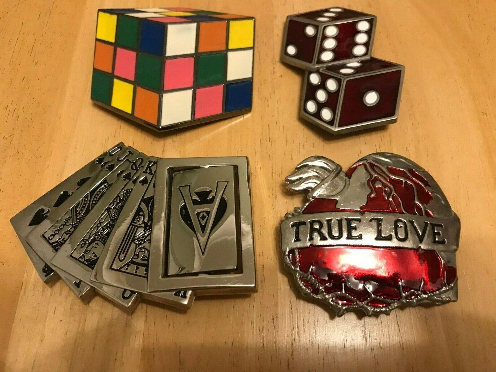 4 x Belt Buckles including 3D Rubix Cube,Dice,Playing Cards,True Love Men Womens