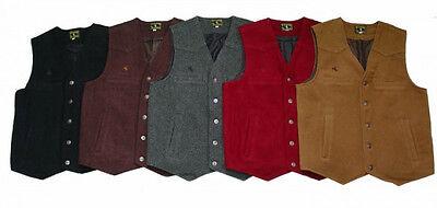 "Warm Cowboy Western ""Wyoming"" Style Wool Four Pocket Vest New"