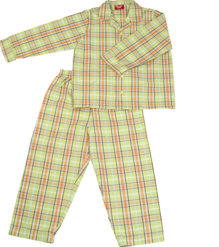 PYJAMA SUIT 100/% COTTON  AMERICAN GREEN CHECKS 5-10 YR
