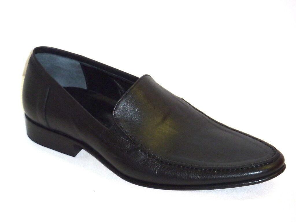 Marsili Herrenschuhe Mokassins elegant moderne schwarzes Leder n. 43