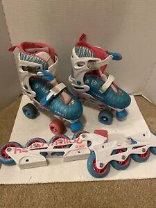 Roller-Derby-Inline-Skates-Pink-blu-Zebra-Print-Quad-Roller-Combo-Girls-Size-3-6