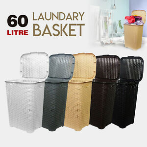 60L-Large-Woven-Laundry-Bin-Basket-Washing-Clothes-Storage-Toys-Accessory-Hamper