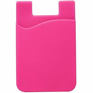 dac57ad6631 Details about Pink Smart Phone Wallet Credit Card Holder 3M Adhesive  Silicone Pocket Universal