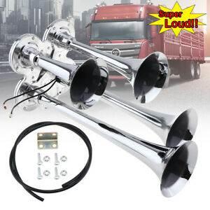 12V Car Truck Train Boat 150DB Super Loud Dual Trumpet Air Horn Chrome Plated
