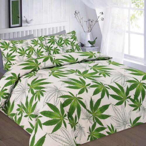 PolyCotton Single Double Kingsize Super Bed Duvet Set Weed Cannabis Plant Print