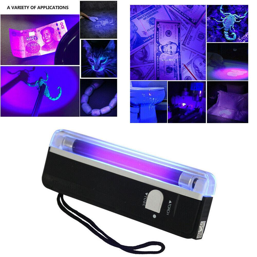 6.3 Inch Handheld UV Black Light Torch With LED Flashlight -