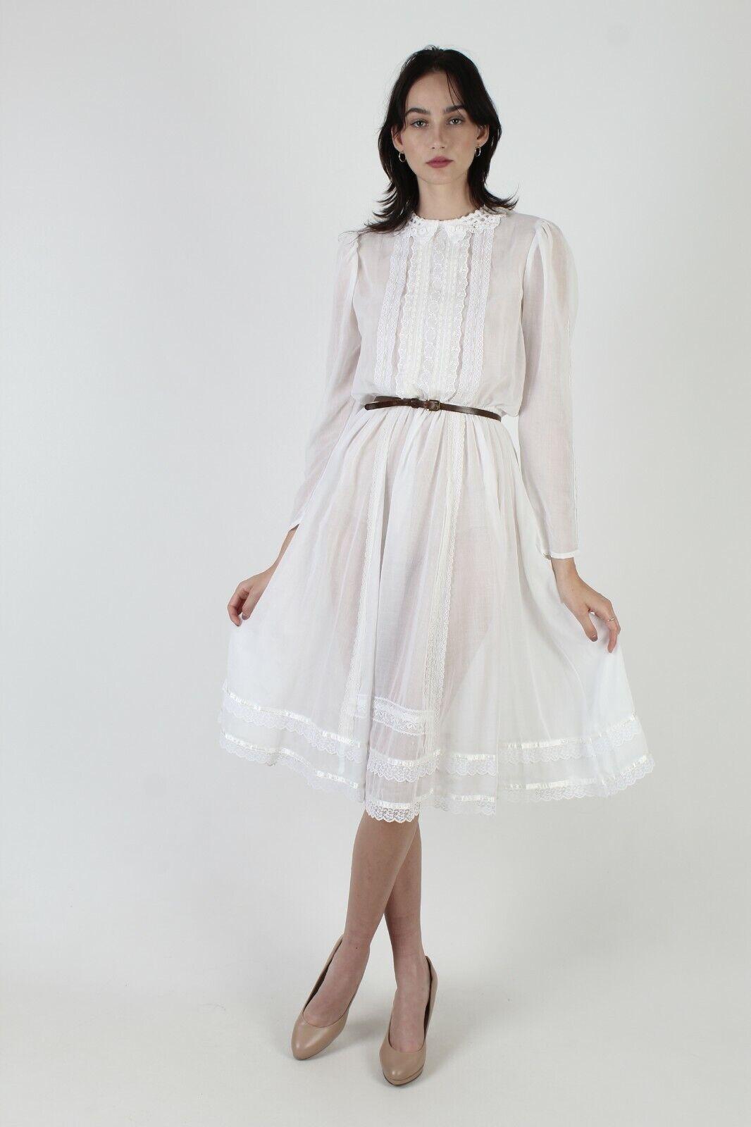 Vintage 70s Gunne Sax Dress Sheer White Crochet L… - image 2