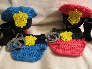 Image is loading Crochet-Police-Officer-Set-Baby-Photo-Prop-Hat- 0f0dd497dba