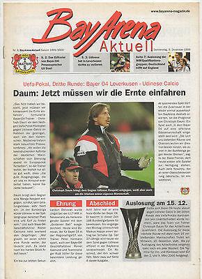 Das Beste Orig.prg Uefa Cup 99/00 Bayer 04 Leverkusen - Udinese Calcio !! Selten