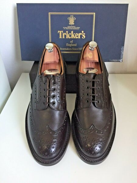 ????new????tricker's Bourton????espresso Box Calf Country Derby Brogue Uk 10.5 Vendita Calda 50-70% Di Sconto