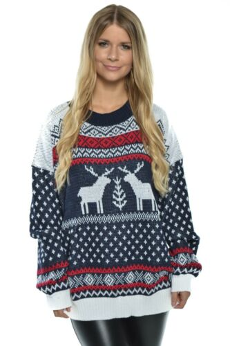 Damen Weihnachtspullover Pulli Rentier lockersitzend Sweater Christmas 40046 NEU