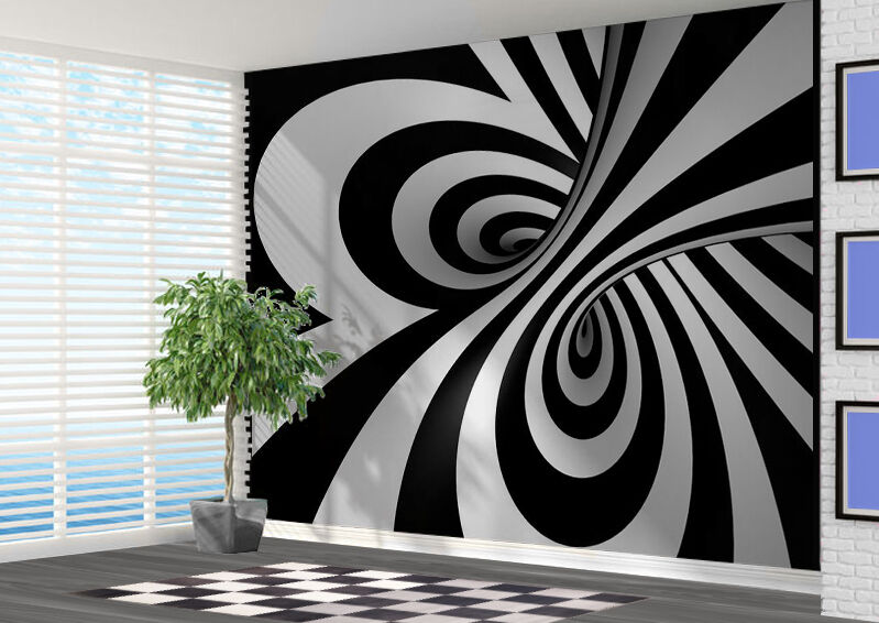 Schwarz und Weiß 3d Wirbel Tapeten Wandbild Wandkunst (14910839) 3d Wirbel