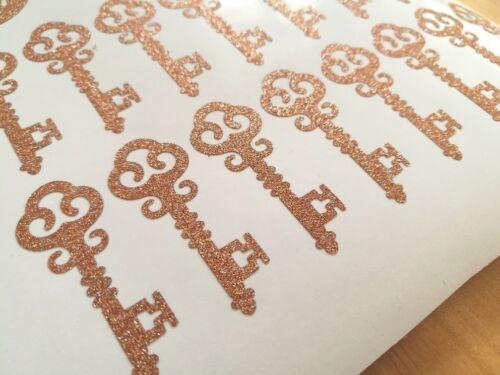 24 2/'/' rose gold GLITTER vintage key stickers wedding party envelope seals decor