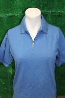 Ladies Ashworth 1/4 Zip Neck Golf Polo Shirt 100% Cotton French Blue S/m/l