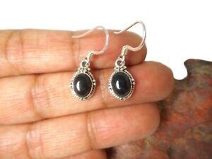 Oval-Black-Onyx-Sterling-Silver-925-Gemstone-Earrings