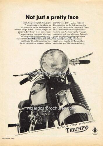 1967 TRIUMPH 650 BONNEVILLE THRUXTON A3 POSTER AD ADVERT ADVERTISEMENT