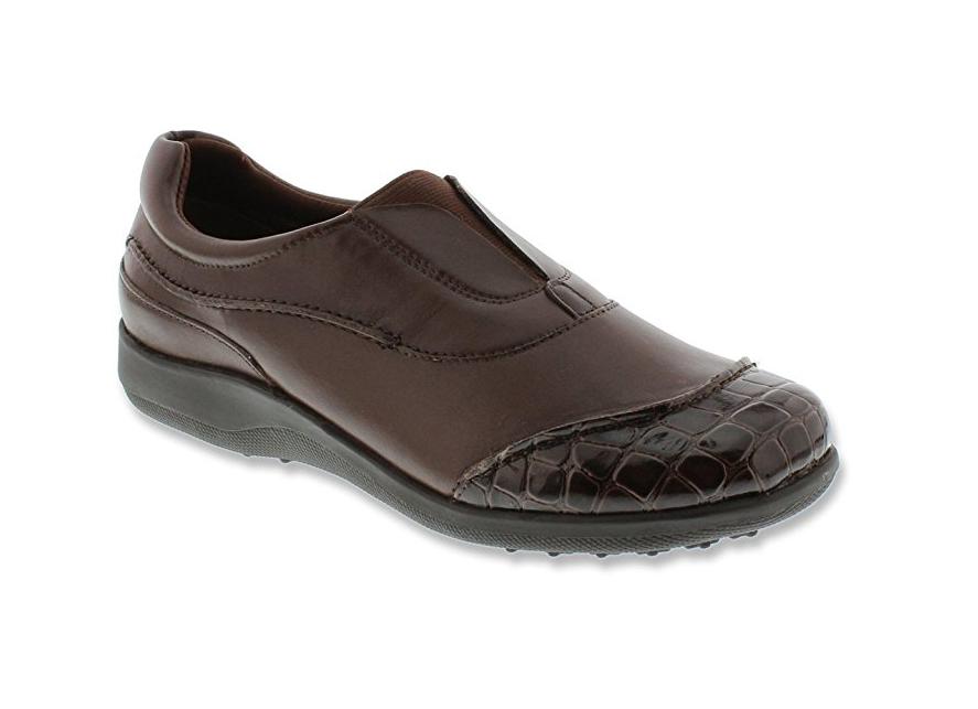 NEU WALKING CRADLES BLACK SLIP ON Schuhe Damenschuhe 7N NARROW BROWN LEATHER ADDIE