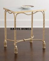 Designer Horchow Tassel Gold Iron Marble Top Side End Accent Table