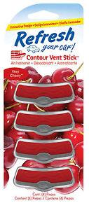 Refresh-CONTOUR-VENT-Sticks-4-Pack-Car-Air-Freshener-Freshner-VERY-CHERRY